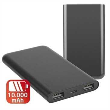 Mobile USB-Power Bank 10000mAh - Li-Polymer - 2 USB-Ausgangsports - 123 x 71 x 19 mm - schwarz