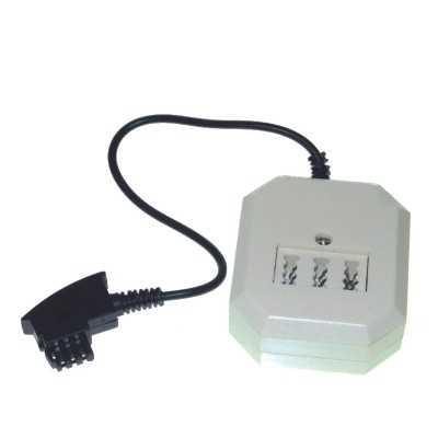 telefonadapter tae f stecker auf dreifach buchse tae nff modularbuchse rj11 6p4c mit kabel 25. Black Bedroom Furniture Sets. Home Design Ideas
