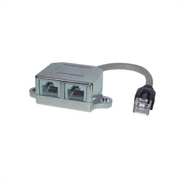 CAT5e Patchkabel-Adapter, RJ45 Stecker > 2x RJ45 Buchse, geschirmt ...