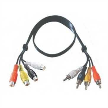 Audiokabel 4 Cinchstecker > 4 Cinchkupplung - Länge: 1,5 m