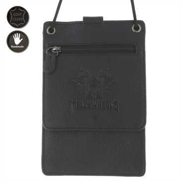 Hell´s Wheels Echt Leder Umhängetasche mit vielen Fächern - Maß: 170 x 109 x 19 mm - schwarz