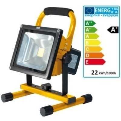 led flutlichtstrahler akkustrahler 20w 8800 mah 1800 lumen 3 std arbeitszeit gelb. Black Bedroom Furniture Sets. Home Design Ideas
