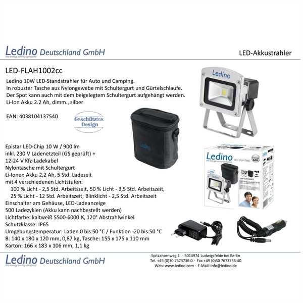 Silber Ledino LED-Akkustrahler 10W Li-Ion Akku 2.2Ah dimm