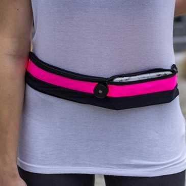 XiRRiX LED-Sicherheits-Bauch-Lauf-Gürtel + Handyfach für Größe (130-147 x 64-74 x 6-12 mm) - pink