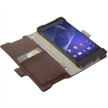 Krusell Tasche Ekerö Folio Wallet 60414 für Sony Xperia Z5 Compact - Coffee